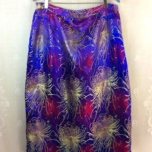 Purple Gold Fuchsia Bold Chrysanthemum Skirt L